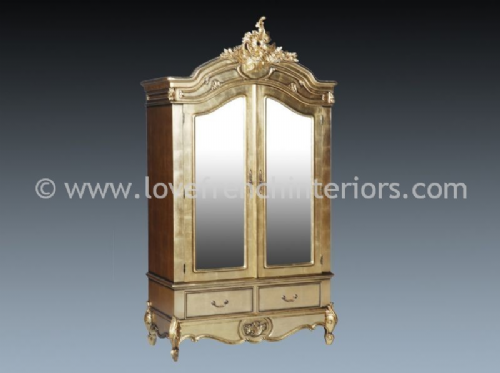 Louis Double Mirrored Armoire in Gold